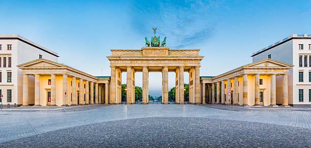 Brandenburg Gate panorama, Berlin, Germany stock photo