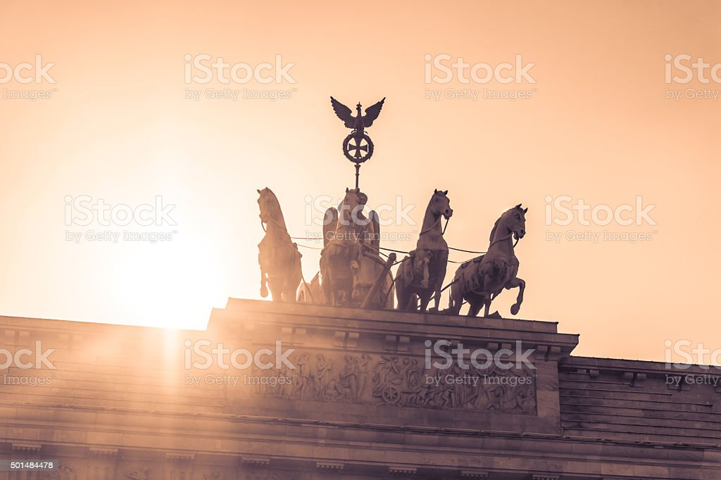 Brandenburg gate quadriga sight in berlin city germany europe stock photo