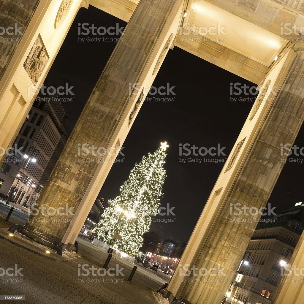 brandenburger tor and christmas tree royalty-free stock photo