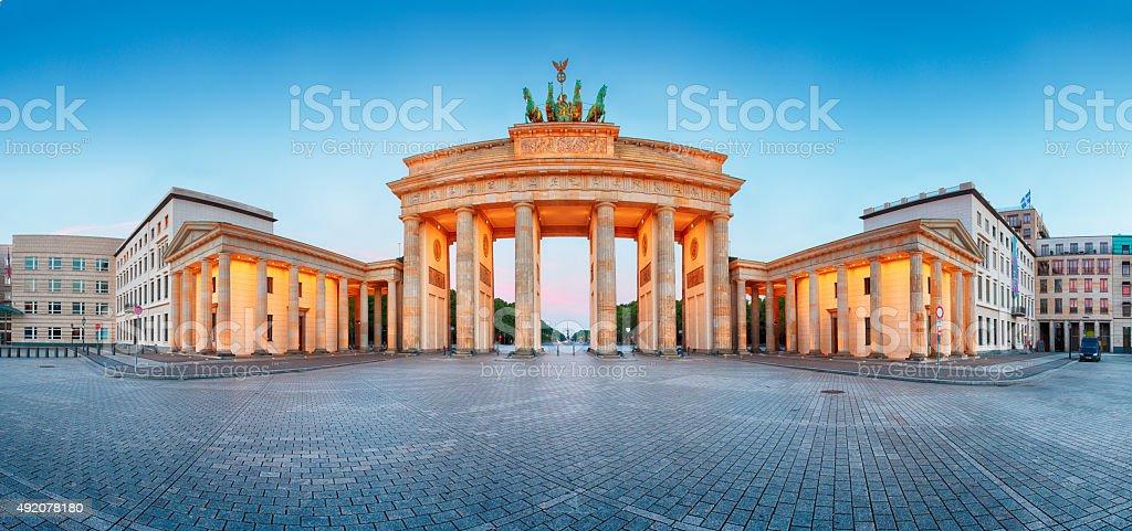 Brandenburger Tor - Brandenburg Gate panorama,  landmark in Berlin Germany. stock photo
