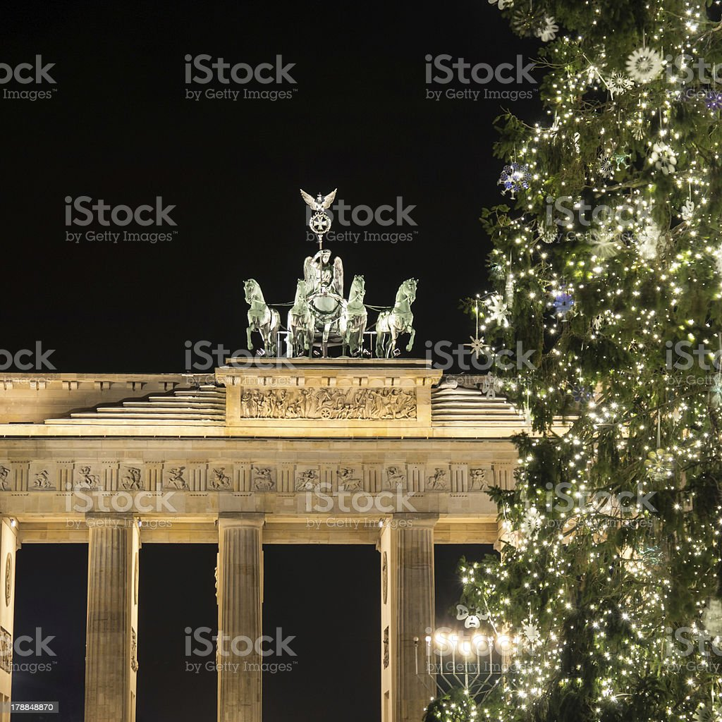 brandenburger tor with christmas tree royalty-free stock photo