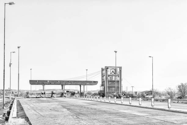 Brandfort Toll Plaza between Brandfort and Bloemfontein. Monochrome stock photo