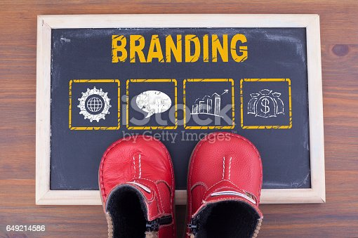 657955676 istock photo Branding and kid shoes on on chalkboard and wooden background 649214586