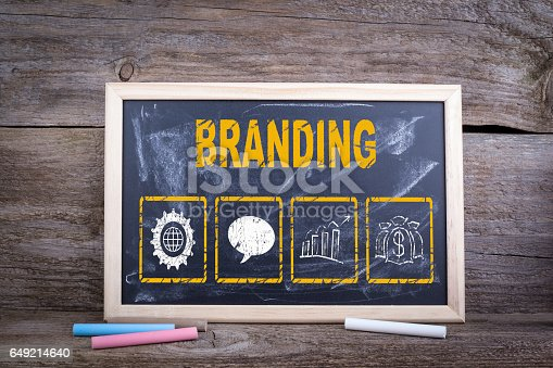 657955676 istock photo Branding concept. Chalk board Background 649214640