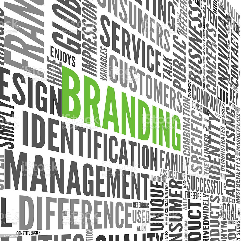 Branding concept in tag cloud stock photo