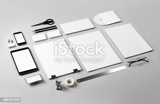 istock Branding identity illustrated by blank white office tools  465407000