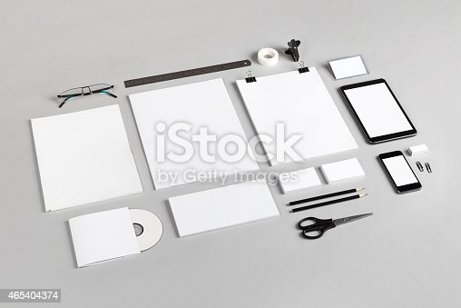 istock Branding identity with blank white supplies 465404374