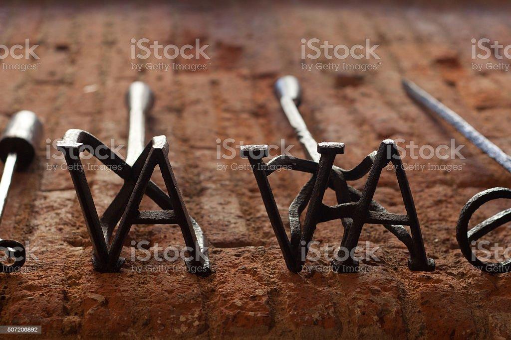 Branding irons stock photo