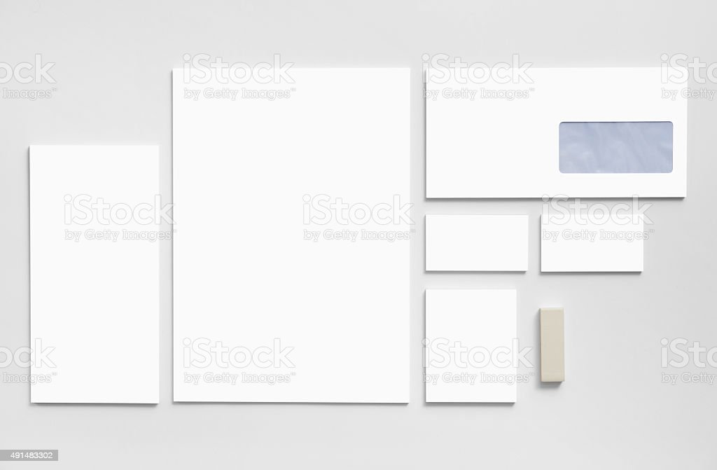 Branding mockup template with white business cards, envelopes stock photo