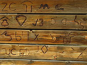 Symbols used to brand cattle for identity.  A brand can take many forms, including a name, sign, symbol, color combination or slogan.  Branding began simply as a way to tell one person's cattle from another by means of a hot iron stamp.