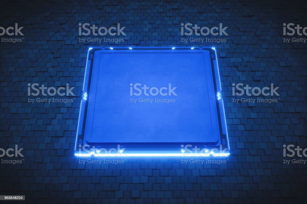 Brand-less processor with blank cover on pixelated structure stock photo