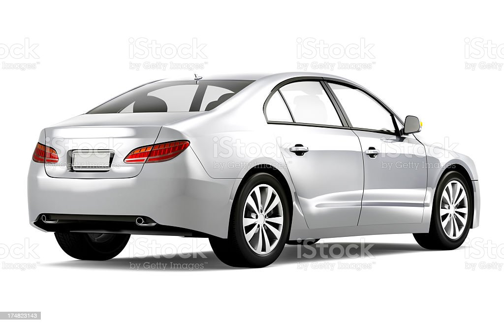 A brand-new silver car on a white background stock photo