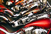 Brandon, Florida, United States -June 15, 2006: A row of Harley Davidson motorcycles lined up at the dealership during Bike Fest 2006.