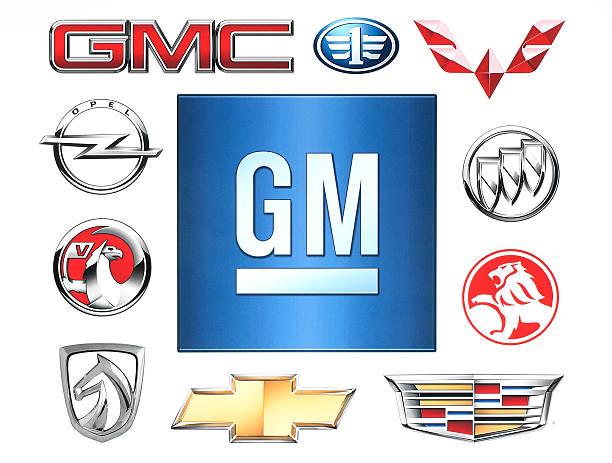 Marken von Allgemeine Motoren Firma -Aufdruck auf Papier. – Foto