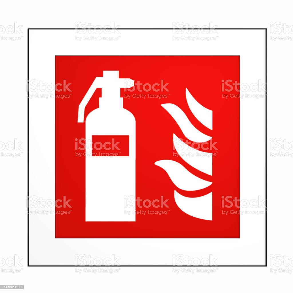 Brandschutzzeichen Nach der dabei Form der ASR a1. 3: Feuerlöscher. – Foto