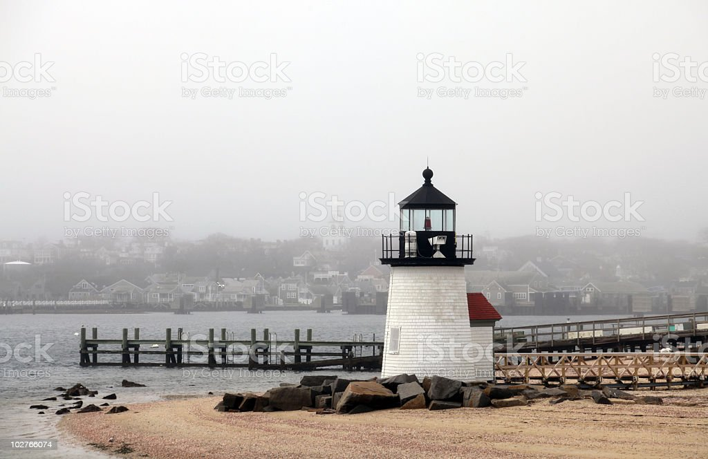 Brandt Point Lighthouse stock photo
