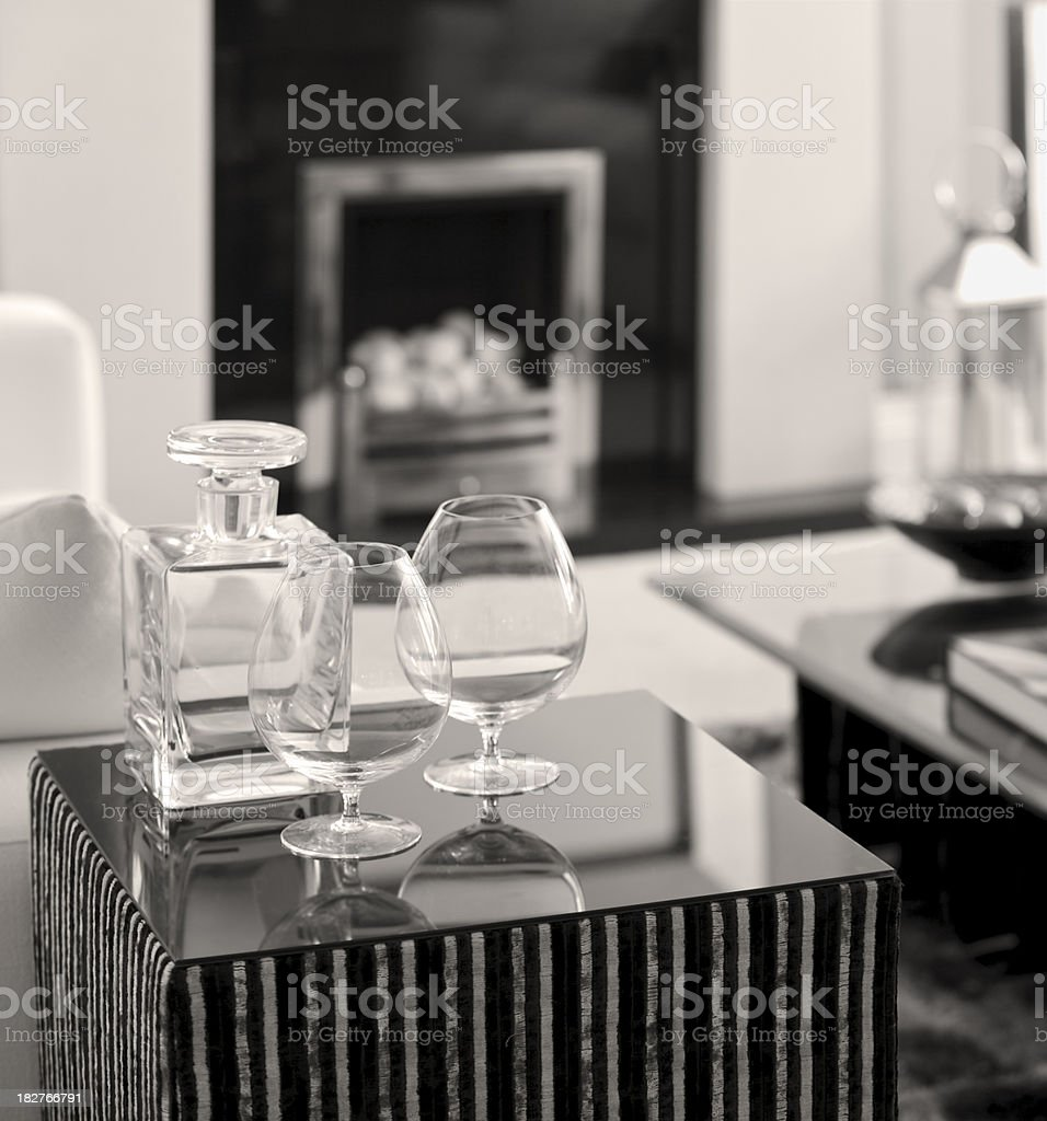 Brandy Glasses in black and white royalty-free stock photo