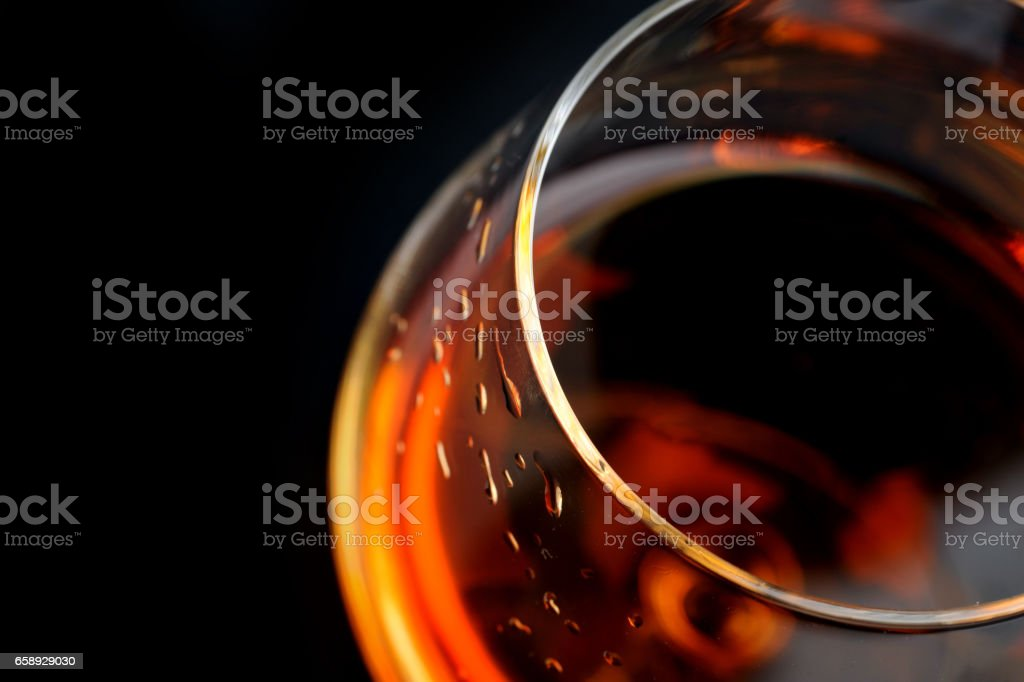 brandy in  glass stock photo