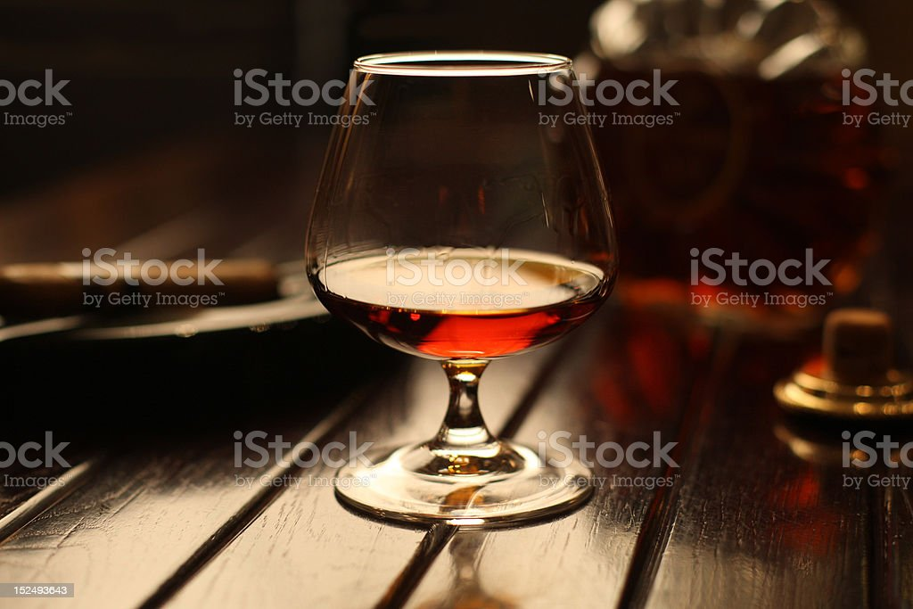 Brandy on a table. stock photo