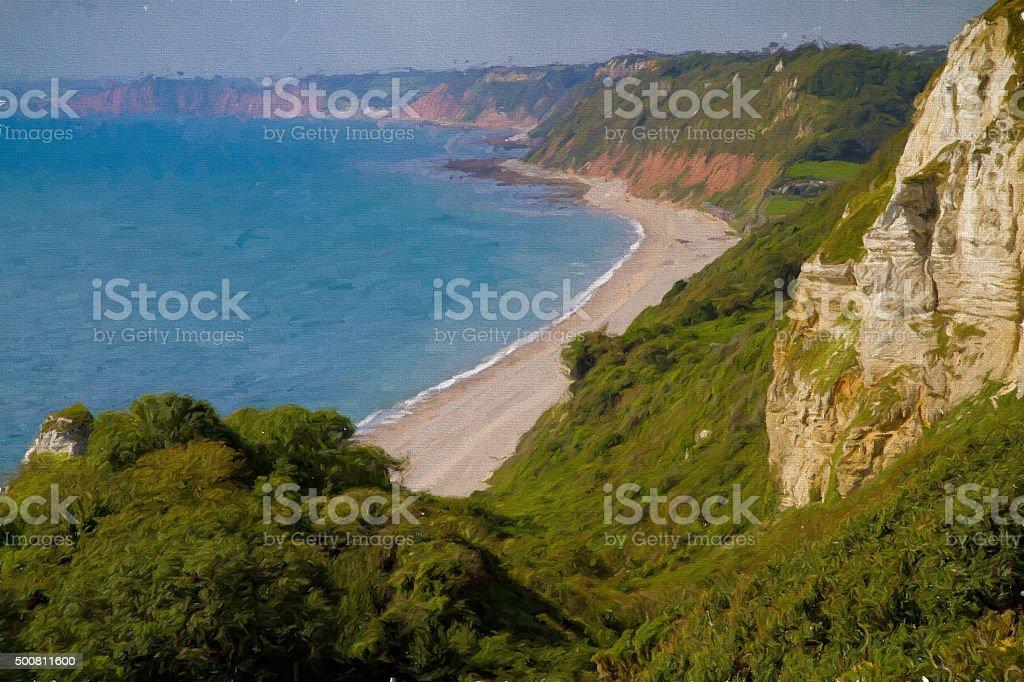 Branscombe beach and coast Devon illustration like oil painting stock photo