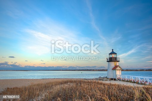 Landscape image taken from shore on a desolate day at Brant Point in Nantucket MA
