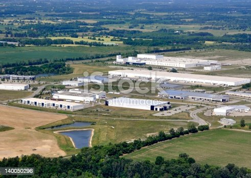 aerial view of an industrial district surrounded by rural farmland in Brantford, Ontario Canada