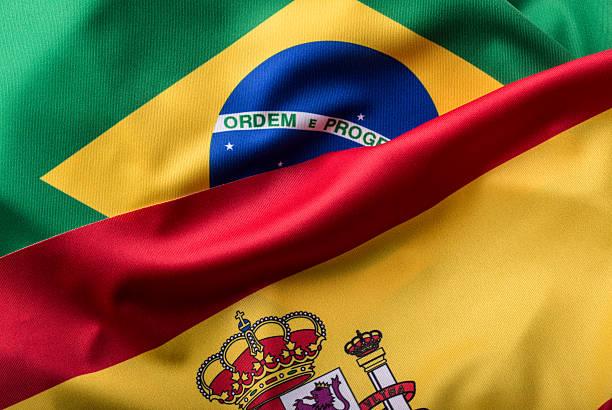 Brasilien und Spanien. Brasilien Flagge und Spanien Flagge – Foto