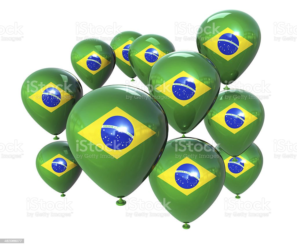 Brasil Flag on Balloons royalty-free stock photo