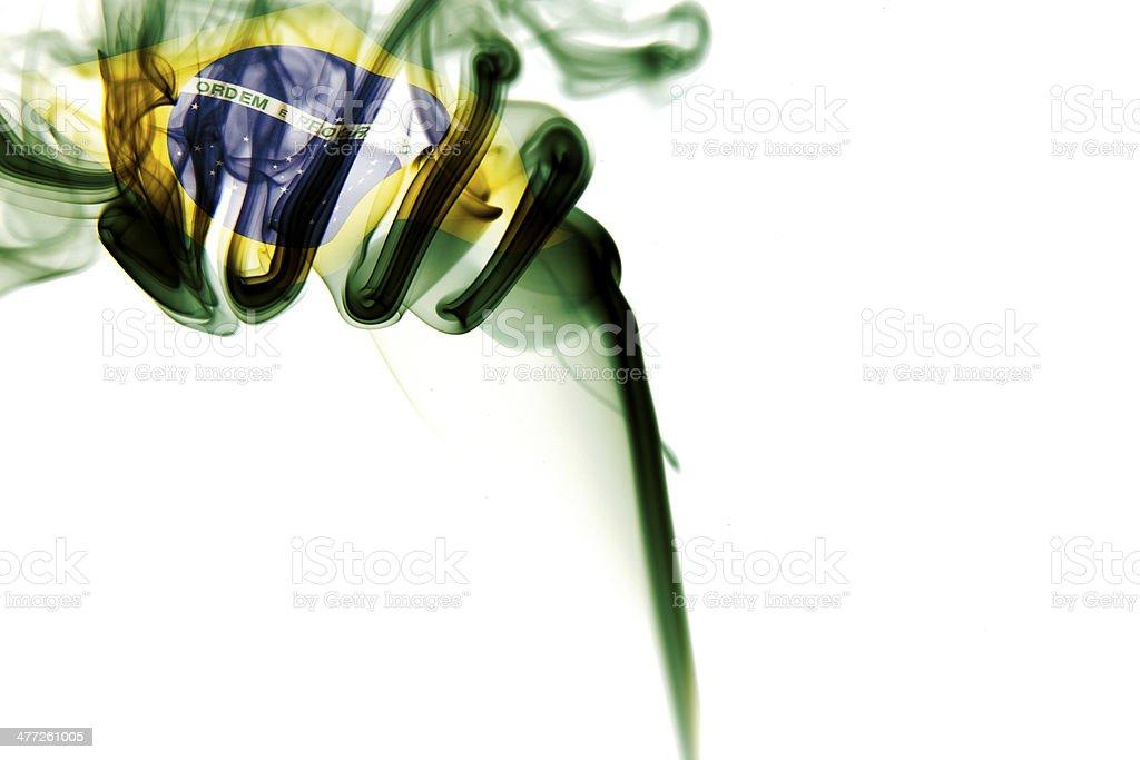 Brasil Flag on smoke stock photo