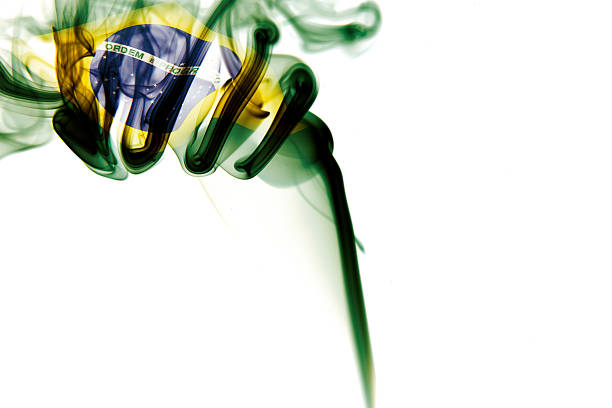 Brasil Flag on smoke stock photo