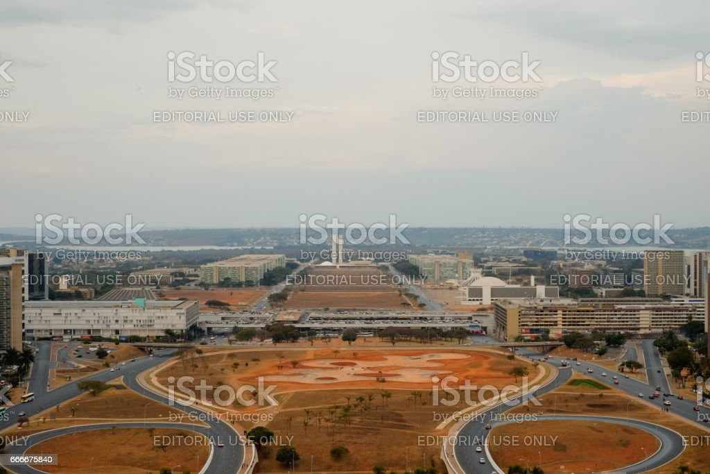 Brasilia, Brazil - August 13, The National Congress and the Ministers Office Buildings view from the TV Tower. stock photo