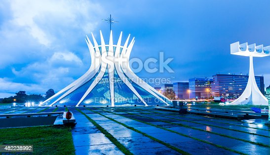 Brasilia, Brazil - March 21, 2015: The Famous Brasilia Cathedral located in Brasilia, Brazil. It was designed by Oscar Niemeyer, and was completed and dedicated on May 31, 1970.