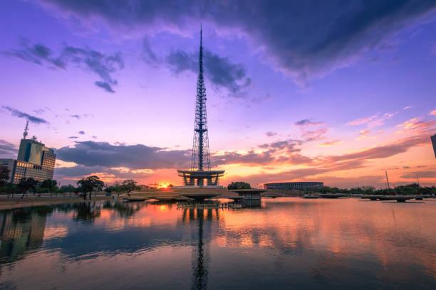 Brasilia TV Tower at sunset - Brasilia, Distrito Federal, Brazil stock photo