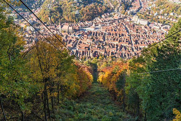 Brasov city seen from cable car stock photo