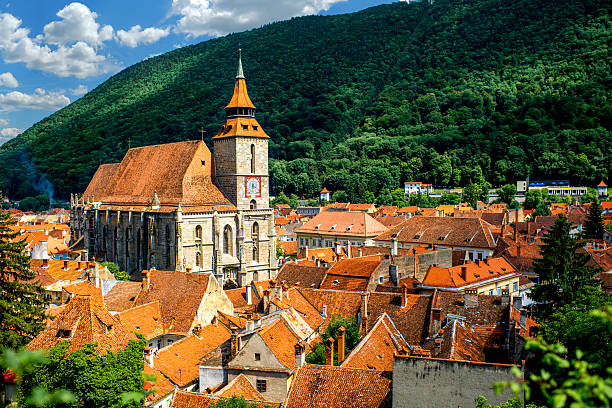 brasov cityscape in romania - romania stock pictures, royalty-free photos & images