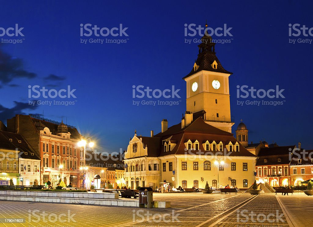 Brasov Council Square at twilight royalty-free stock photo