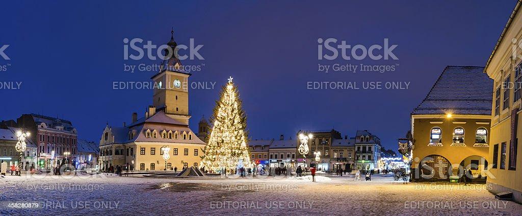 Brasov historical center in Christmas days, Romania royalty-free stock photo
