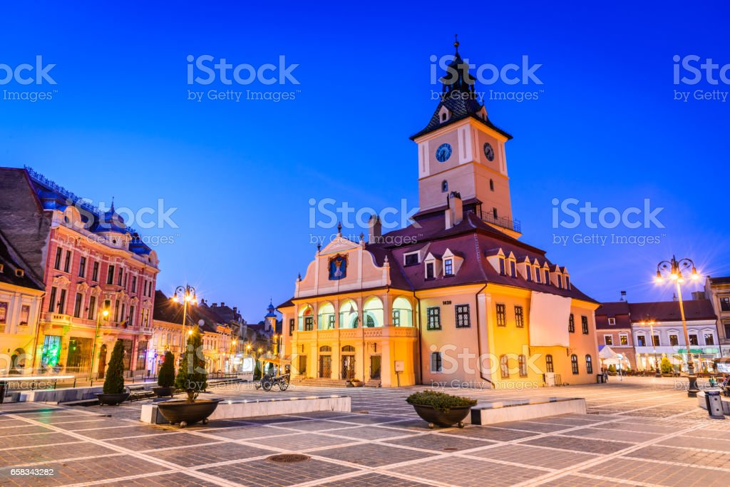 Brasov, Main Square, Transylvania - Romania stock photo