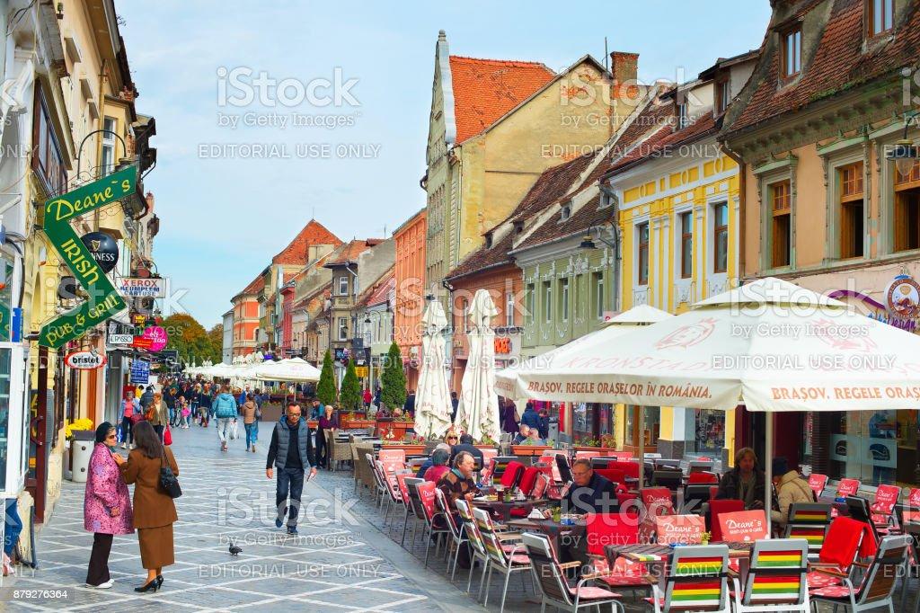 Brasov Old Town street. Romania stock photo