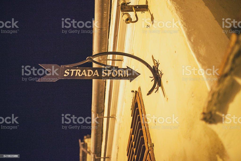Brasov Strada Sforii sign stock photo