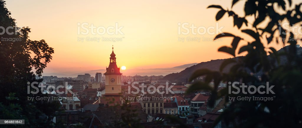 Brasov sunrise postcard royalty-free stock photo