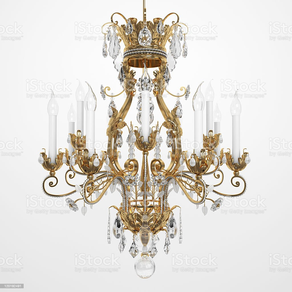 Brass and glass chandelier with white candles stock photo