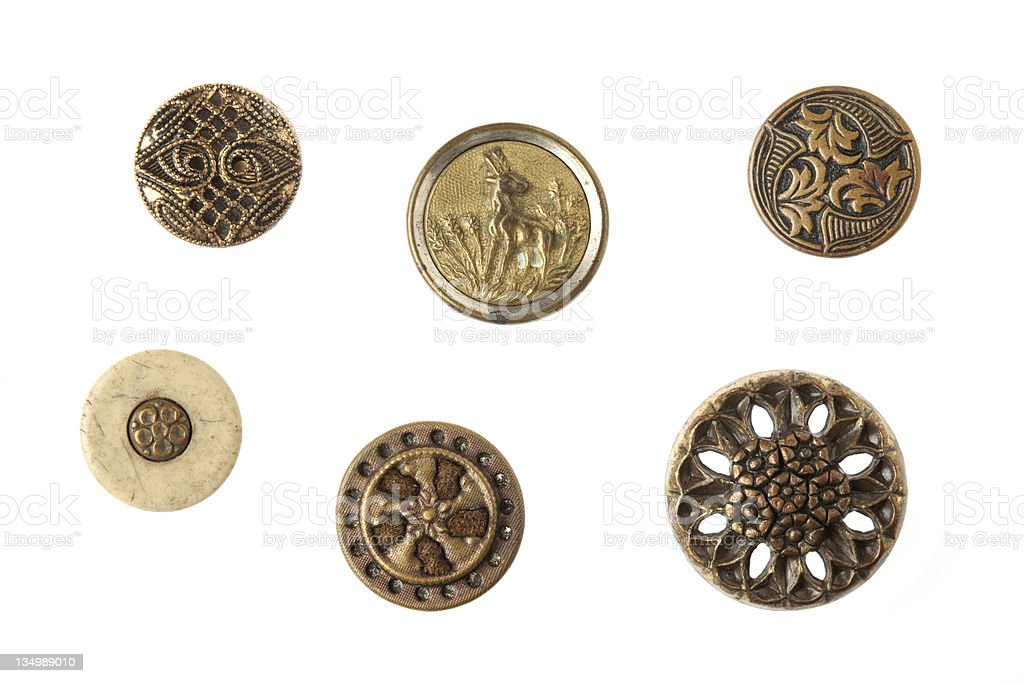 Brass Antique Metal Buttons stock photo