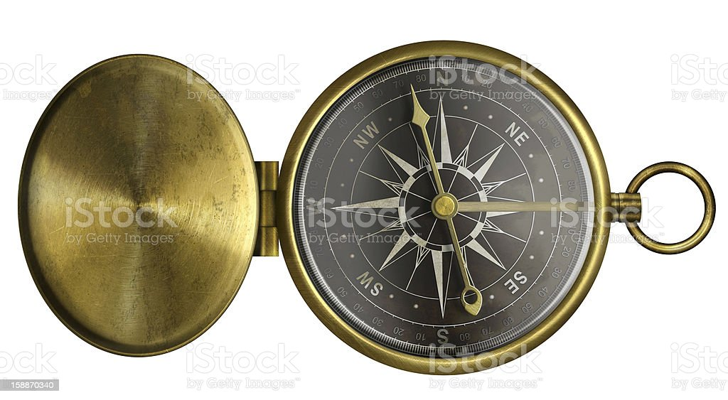 brass antique pocket compass with lid and black scale isolated royalty-free stock photo