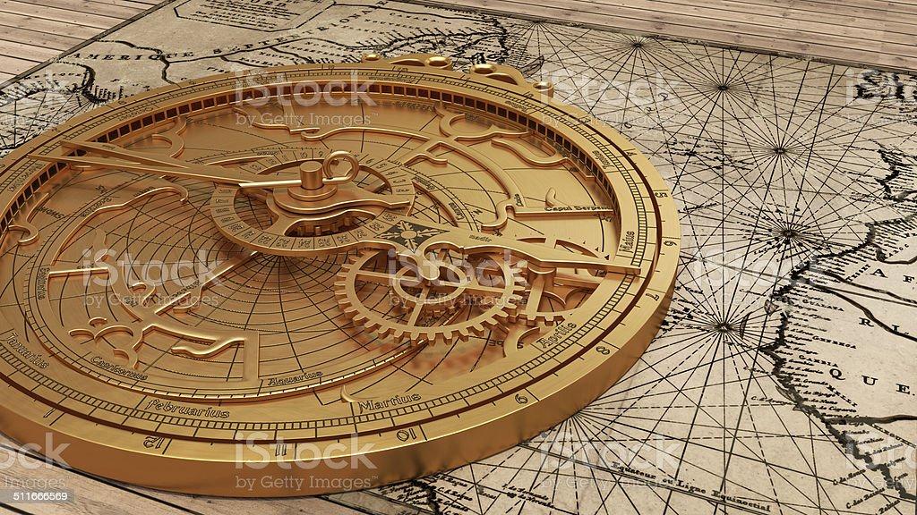 Astrolabio madieval latón, astronómico de un instrumento de navegación - foto de stock