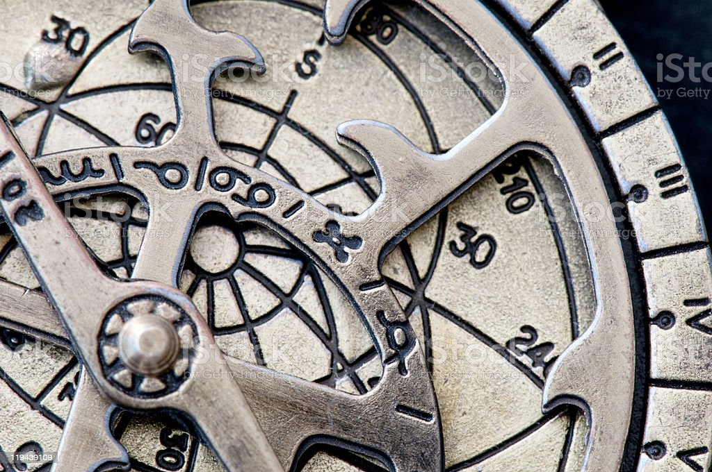 Brass astrolabe, a medieval astronomological navigation instrument. royalty-free stock photo