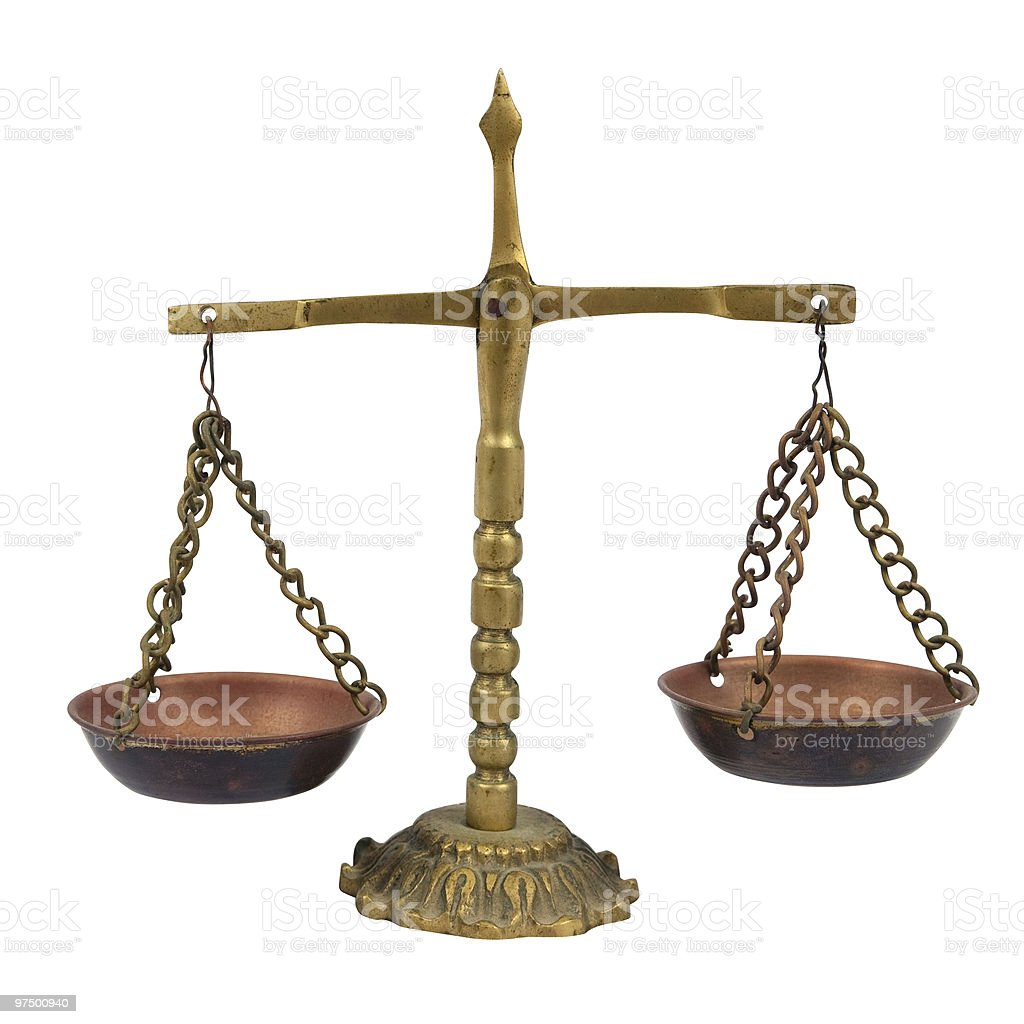 Brass balance. Isolated with clipping path royalty-free stock photo