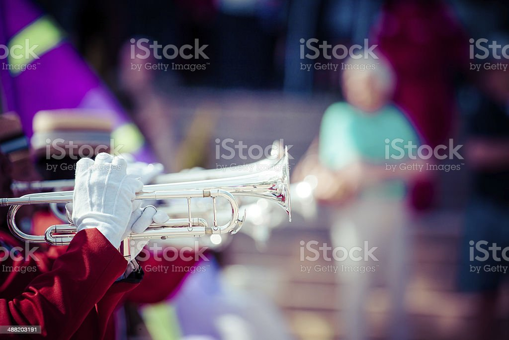 Brass Band in red uniform performing stock photo