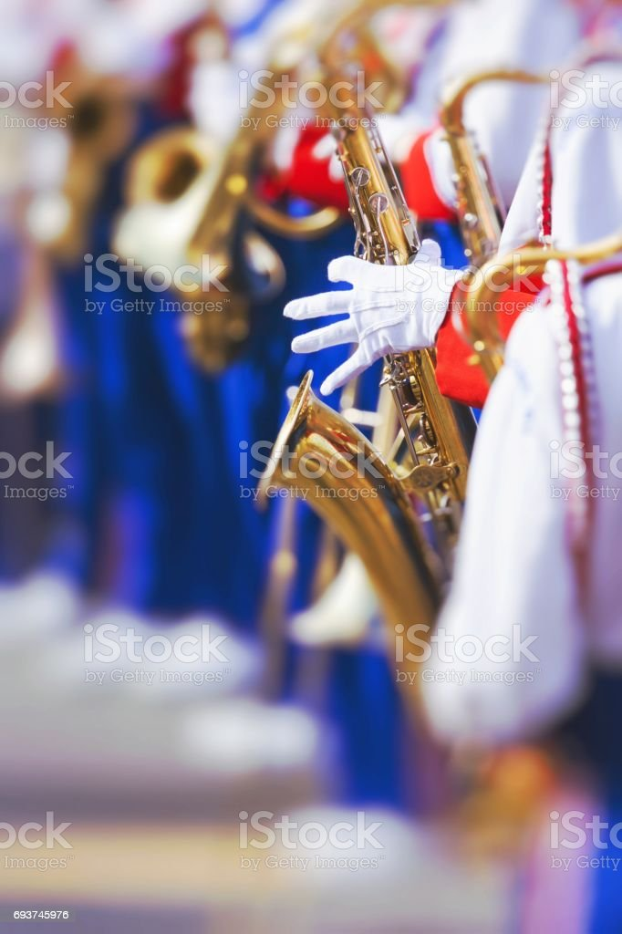 Brass Band in uniform performing stock photo