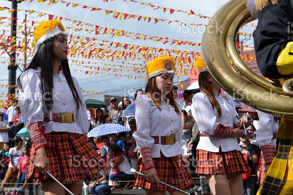 Brass band majorettes synchronized marching stock photo